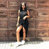 Sexy Sleeveless Black Irregular Midi Dresses MAE-194