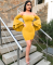Off Shoulder Mini Bodycon Dress Yellow LSL-6052