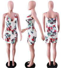 Floral Print Bodycon Split Mini Dress YD-8011