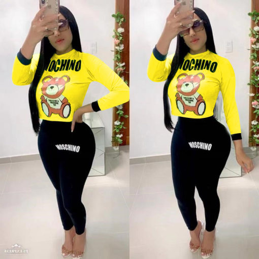Cartoon Print Long Sleeve Casual Two Piece Pants Set MYP-8885