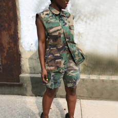 Camouflage Print Sleeveless Two Piece Shorts Set MEM-8231