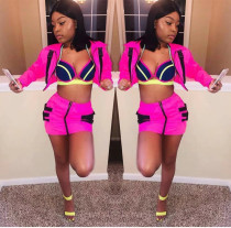 Casual Long Sleeve Buckle Mini Skirt Set OD-8255