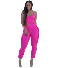 Side Ruffle Pant Set YIS-606
