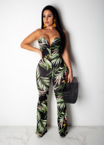 Sexy Printed Strapless Plunging V Neck Bodycon Jumpsuit YD-8100
