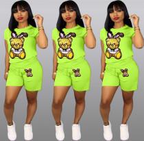 Plus Size Cartoon Print Shorts 2 Piece Set QY-5090-1