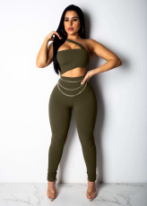 Sexy Off Shoulder Chain Skinny Jumpsuit WZ-8185