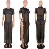 Plus Size Mesh 3pcs Club Dress With Bra Set LDS-3109
