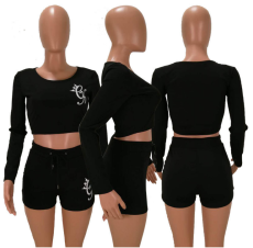 Black Crop Top Drawstring Shorts Set HM-6022