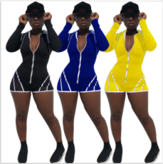 Casual Long Sleeve Front Zipper Bodycon Playsuit YN-025