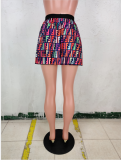 Fashion Printed Mini Pleated Skirt WSM-5089