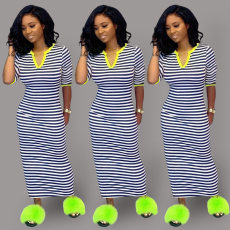 Casual Stripes Half Sleeve Long Maxi Dresses YS-8381