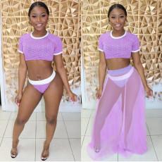 Sexy 3pcs Swimsuit Short Sleeve Bikini Sets AWN-5033