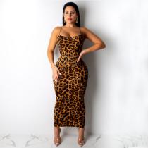 Sexy Leopard Print Spaghetti Strap Slim Long Maxi Dress TE-3812