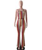 Colorful Stripe Backless Jumpsuit LSL-8004