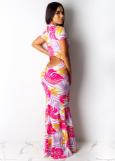 Floral Printed Short Sleeve Mermaid Bodycon Maxi Dress PIN-8404