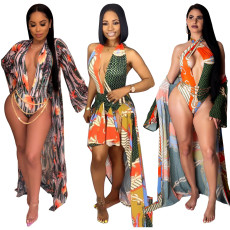 Plus Size Floral Print 2pcs Beach Cloak+ Bodysuit Sets YS-8318