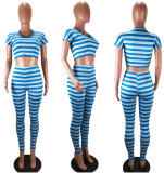 Striped Crop Tops And Long Pant Sets NM-8009