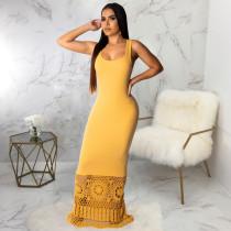 Sexy Patchwork Sleeveless Slim Floor Length Maxi Dresses SMR-9277