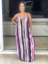 Plus Size Tie Dye Striped Print Spaghetti Strap Maxi Dress HGL-1189