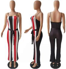 Coloful Stripe Strappy Jumpsuit PIN-F706