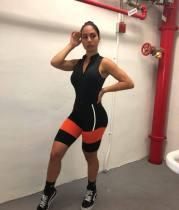Sexy Zipper Sleeveless FitnessTwo Piece Shorts Set MIL-018