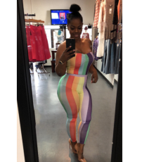 Rainbow Stripes Bodycon Jumpsuit CQ-5058