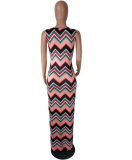 Striped Hit Color Sleeveless Maxi Dress QY-5044