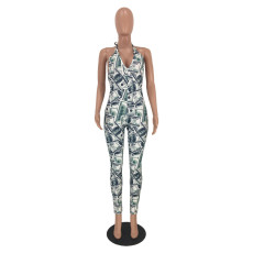 Dollar Pattern V Neck Halter Backless Skinny Jumpsuit MEI-9020