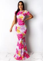 Floral Printed Short Sleeve Mermaid Bodycon Maxi Dress PIN-8404