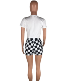 Round Neck T-shirt Plaid Shorts 2pcs LP-641