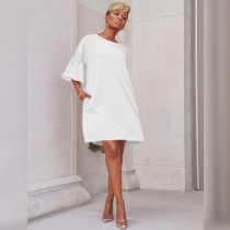 Solid Flare Sleeve Casual Loose Midi Dresses MTY-6185