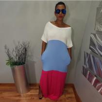 Contrast Color Patchwork Short Sleeve Long Maxi Dress OD-8289