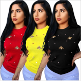 Plus Size Peral Butterfly Decoration T Shirt PIN-8291
