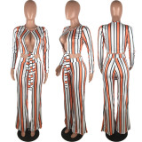 Stripes Long Sleeve Two Piece Set OM-1045