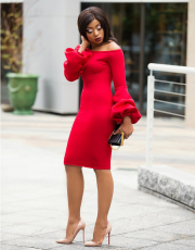 Red Off Shoulder Lantern Sleeve Midi Dress LS-0206