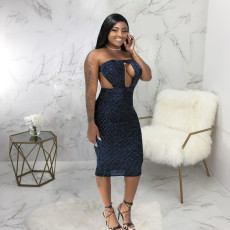 Sexy Strapless Cut Out Backless Midi Dress SMR9210