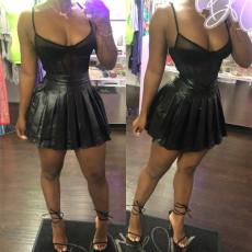 Fashion Black PU Leather Mini Pleated Skirt LSL-6305