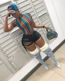 Plus Size Colorful Stripes Short Sleeve T Shirt CQ-5202