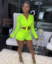 Green Long Sleeve Top And Shorts 2 Piece Set WZ-8200