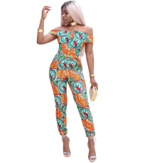 Off Shoulder Africa Print Jumpsuit YIS-604