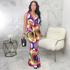 Sexy Sleeveless V Neck Print Long Dress SMR9201