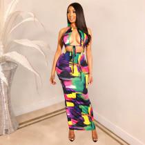 Sexy Cut Out Halter Print Maxi Dress TE-3683