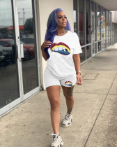White Sequins Lips Print T Shirt Shorts Two Piece Suits CH-8053
