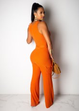 Solid Sleeveless Sashes Slim One Piece Jumpsuit LDS-3157