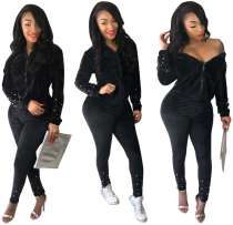 Black Velvet Pearl Tracksuit Two Piece Set CM-274