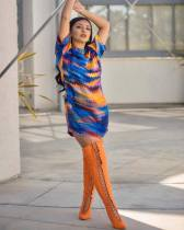Tie Dye Print Casual Short Sleeve Mini Dresses OJS-9093