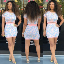 Casual Printed Short Sleeve Mini Skirt Two Piece Suit KSN-5001