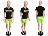 Casual T Shirt Top And Mesh Shorts Two Piece Set QZX-6056