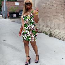 Leopard Print Sleeveless Bodycon Mini Dresses LQ-5064
