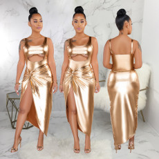 Gilding Cut Out Bodysuit Irregular Skirt Suit SMR9178